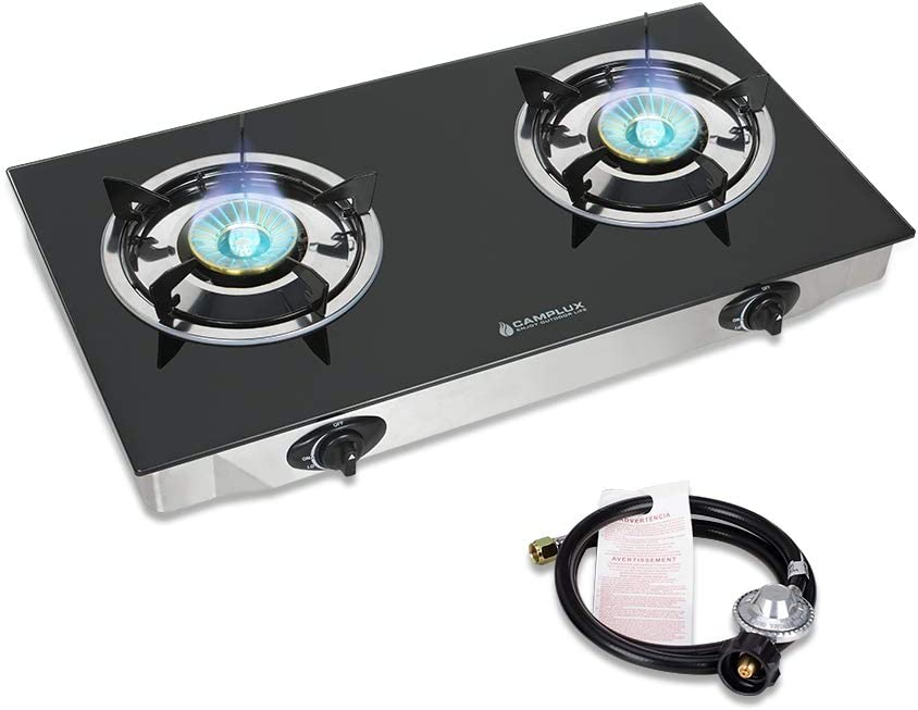 Camplux Propane Gas Cooktop Tempered Glass Double Burners Stove Auto Ignition LPG