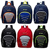 17 Inch Classic Wholesale Bungee Backpacks in Assorted Colors - Bulk Case of 24 Bookbags: more info