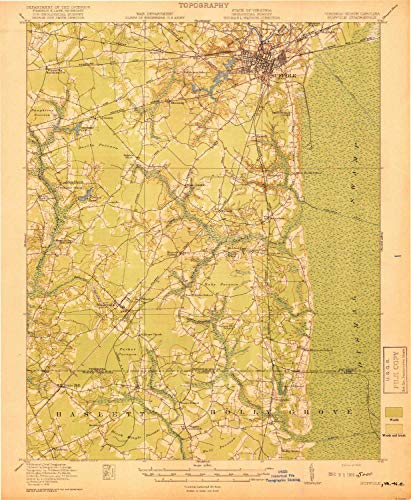 YellowMaps Suffolk VA topo map, 1:62500 Scale, 15 X 15 Minute, Historical, 1919, 19.9 x 16.4 in - Paper