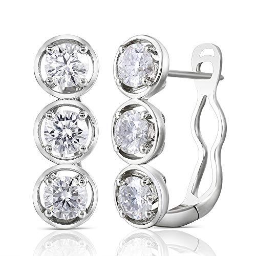 DovEggs 14K White Gold Post 2ct 4.5mm H-I Color Moissanite Hoop Earrings Platinum Plated Silver for Women