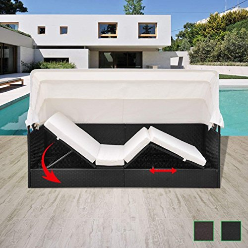 Patio Furniture Daybed Outdoor Poly Rattan Wicker Sun Lounger Suncrown Garden White Comforter Canopy Sofa Daybed with Cushions Black