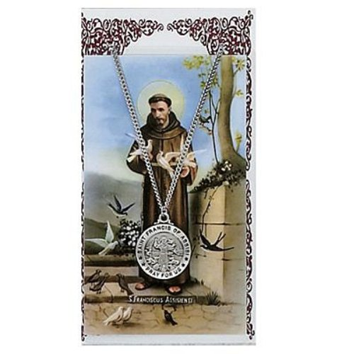 Assisi Medal - St. Francis of Assisi 3/4-inch Pewter Medal Pendant with Prayer Card