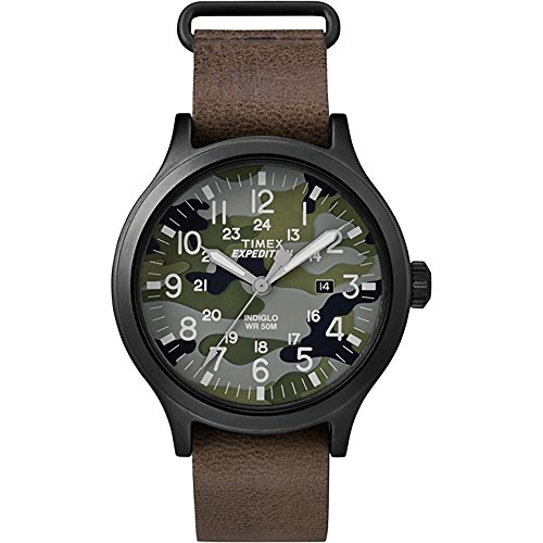 Timex Expedition Scout 43 Watch - Camo Dial/Brown Leather