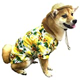 Hawaiian Pet Dog T-Shirt Summer Camp Clothes Apparel with Straw Hat for Puppies Cats