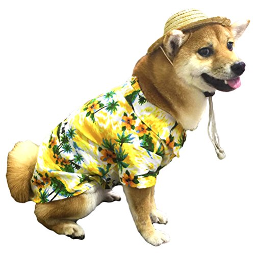 Hawaiian Pet Dog T-Shirt Summer Camp Clothes Apparel with Straw Hat for Puppies Cats by Lamphyface