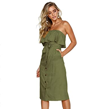 475c4f6bc07f Women Ruffles Strapless Dress Sexy Off Shoulder Wrapped Chest Bodycon Dress  (Army Green