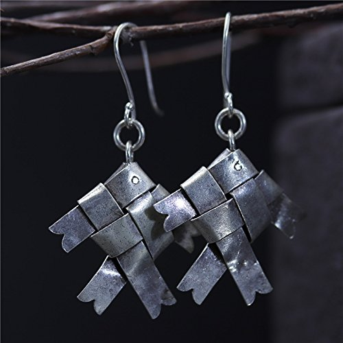 Tribe Silver 30mm - Hand Crafted Vintage S925 Silver 31*30 mm Woven Fish Earrings With Gift Box Packing,Sterling Silver Texture Drop Earrings,Gift For Her