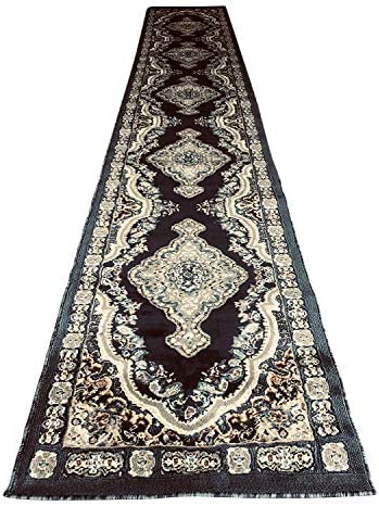 emirates Traditional Persian Long Runner Rug Dark Blue Grey Brown Design 520 31 inch X 15 feet 8 inch
