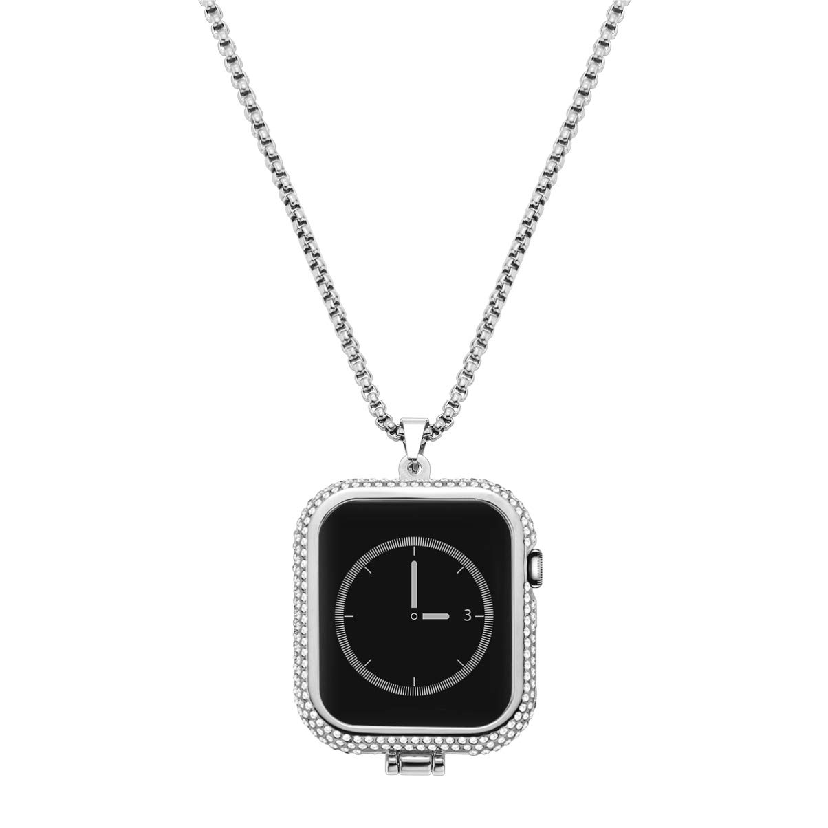 NICERIO NICERIO Compatible with Apple Watch Series 4 Diamond Metal iWatch Necklace Pendant Frame Protective Case Bumper Silver (40mm) by NICERIO