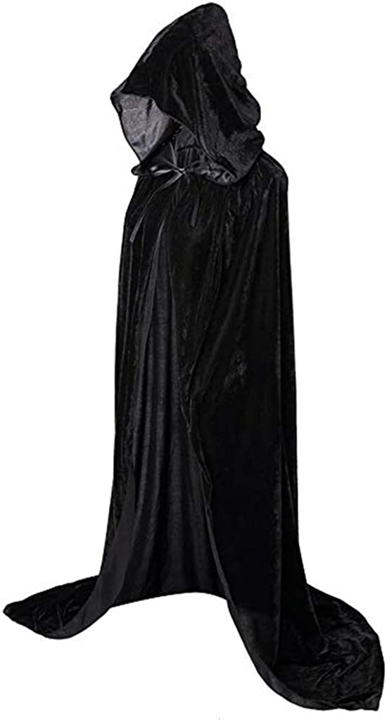 Biruil Velvet Capes Cloak with Hood Halloween Christmas Costume Cosplay Hooded Robes Party Costume