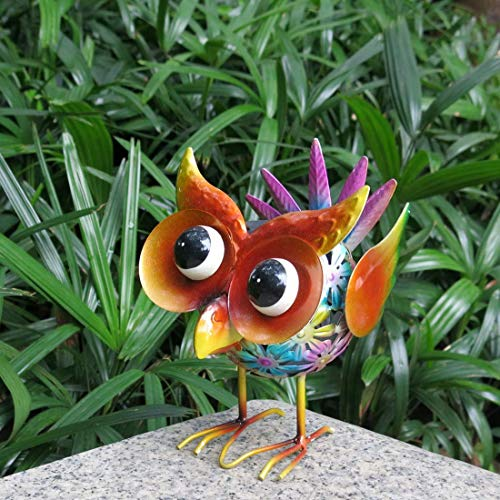 Colorful Solar Garden Lights Cute Animals Owl Solar Powered Lights Metal Lawn LED Lights Arts Decor for Courtyard Path Balcony
