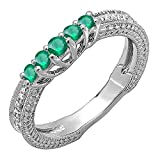 10K White Gold Round Green Emerald And White Diamond Ladies Wedding Band Guard Enhancer Ring (Size 9)