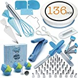 Cake Decorating Supplies Kit - Cake Decorating Set With Turntable For Beginners & Professional 136 Pcs - Icing Tips, Spoons, Icing, Bags, Tools, Cookies,Piping, Baking,Frosting,Pastry,Cupcakes