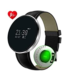 Intelligent Fitness Tracker Heart Rate Monitor Blood Pressure Bracelet Sedentary Reminding Sleep Management Alarm Call Reminder Pedometer Sport Activity Healthy Wristband With OLED Touch ( Color : Black Steel Belt )
