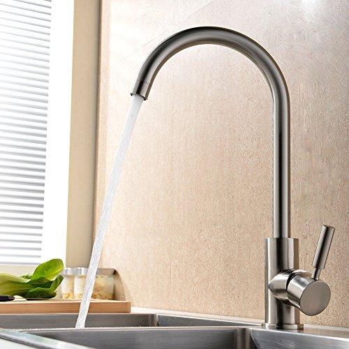 VAPSINT¨ 360 Degree Swivel Good Valued Modern Hot& Cold Mixer Single Handle Brushed Steel Kitchen Sink Faucet