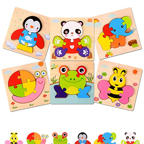 GUTTATY Wooden Jigsaw-Puzzles for Toddlers 1 2 3 Years Old-Toddler Baby Boy & Girl Toys-Educational Learning Toys Gifts for 1 2 3 Year Kids (6-Pack Animals Patterns)