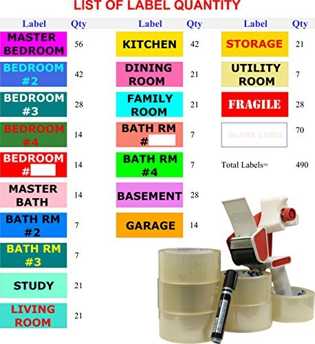 "Moving Package for 4-5 Bedroom House, Including Packing Tape, Tape Dispenser, Permanent Marker, and 490 Large Size (4"" x 1 ½"") Color Moving Labels"