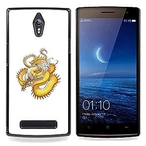 - Golden Yellow Dragon Serpent Long Tail/ Duro Snap en el tel????fono celular de la cubierta - Cao - For Oppo Find 7 X9007
