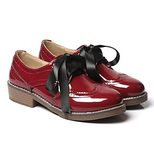 Ankle Pumps Strap KemeKiss Girl Women Style School British Red Fashion Shoes Wine x1wTR0q