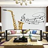 Wallpaper Nature Poster Art Photo Decor Wall Mural for Living Room,Illustration of Fancy Old Saxophone with Template Solo Vibes Art Print Decor,Home Decor - 66x96 inches