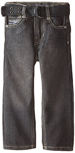 U.S. Polo Assn. Little Boys' Belted Flap Pocket Straight Leg Jeans, Mariner, 4