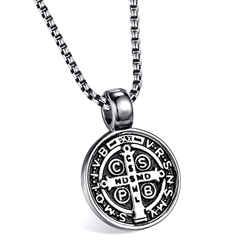 ENHONG Men's St Benedict Exorcism Pendant Necklace Stainless Steel Catholic Roman Cross Demon Protection Ghost Hunter - Boys Medallion Necklace