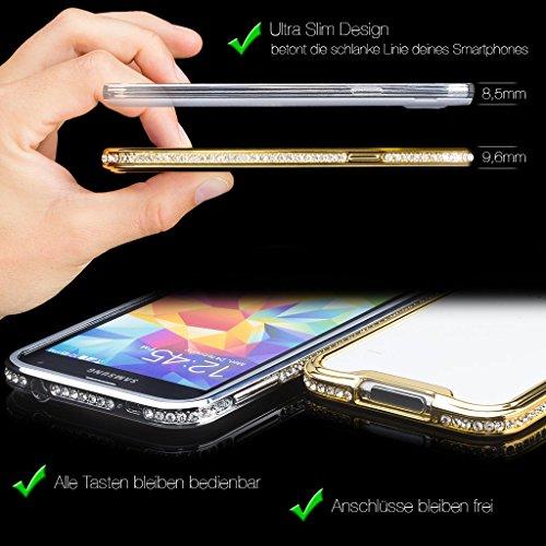 Apple iPhone 4 / 4S | iCues aluminium strass rose de voiture | [Protecteur d'écran inclus] Glitter Glitter Strass luxe bling dames femmes filles Chrome CNC en aluminium Aspect métallique de protection