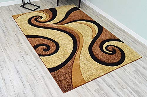 PlanetRugs Premium 3D Effect Hand Carved Thick Modern Contemporary Abstract Area Rug Design 327 Beige Brown