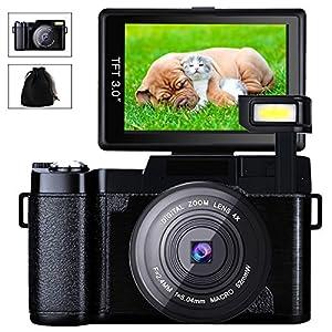 Digital Camera Camcorder Full HD Video Camera 1080p 24.0MP 3.0 Inch 180 Degree Rotatable Screen with Camera Bag and Retractable Flashlight
