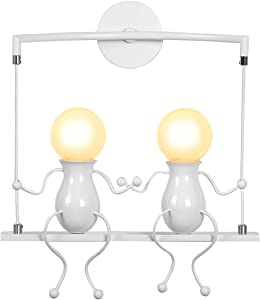 KAWELL Humanoid Creative Wall Light Adjustable Swing Metal Bedside Wall Lamp Modern Decor Wall Sconces Lighting Cartoon Doll Gift Wall Lamps LED Wall Light Fixtures E26 White