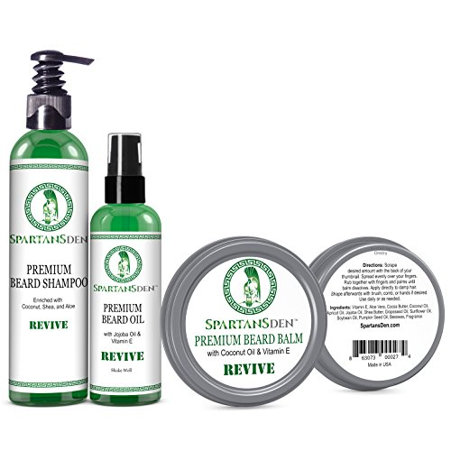 Spartans Den #1 Rated Beard Care Kit for Growth and Conditioning - 100% Natural with Tea Tree and Mint to Fight Dandruff and Itch, Promote Softness and Thicken Patchy Beards -Revive