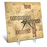 3dRose dc_33723_1 Love and Kindness Matters World Map Inspirational Art Desk Clock, 6 by 6-Inch For Sale