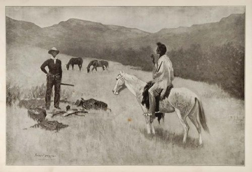 1902 Print Frederic Remington Art Cowboy Indian Parley Native American Old West - Original Print by PeriodPaper...