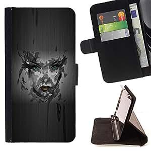 BullDog Case - FOR/HTC One M9 / - / Girl Camo Portrait /- Monedero de cuero de la PU Llevar cubierta de la caja con el ID Credit Card Slots Flip funda de cuer
