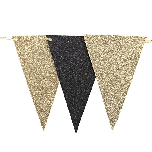 Ling's moment 10 Feet Double Sided Glitter Pennant Bunting Banner Garden Triangle Flags for Wedding Graduation Birthday Party Decor Supplies, Upgrade Glitter Version, Gold+Black 15 Flags, Pack of 1 -