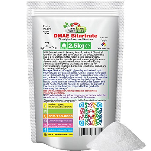 2.5kg (5.5lbs), 100% Pure DMAE Bitartrate (Dimethylaminoethanol) Pwder - Free Shipping by Lifeline Nutrients
