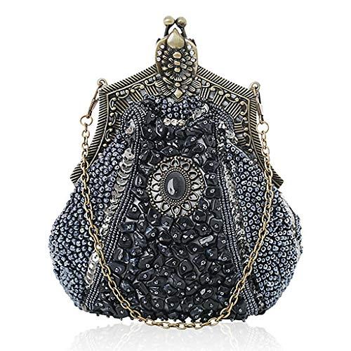 Evening Envelope Prom Clutch Hijing Sequins Handbag Grey Bridal Handbag Party Evening Bag Bridal Beaded Wedding Shoulder a04aP