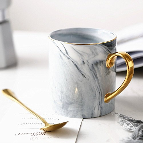 Longpro Marble Ceramic Bone China Coffee Mug with Golden Spoon Nordic Style Coffee Mug Retro Royal Tea Mug Top-quality Morning Mug Milk Mug for Wedding Valentine Gifts