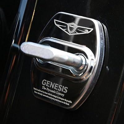Four1Korea Stainless Steel Door Lock Striker Cover Emblem Laser Marking Trim for Hyundai Genesis G80 (Silver): Automotive