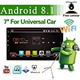Latest Android 8.1 Quad Core 7 Inch HD 1024600 Touchscreen Universal Car Radio Navigation Stereo Entertainment Multimedia FM/AM/RDS Radio/GPS/WiFi/Bluetooth/Mirror Link(No DVD Player!)