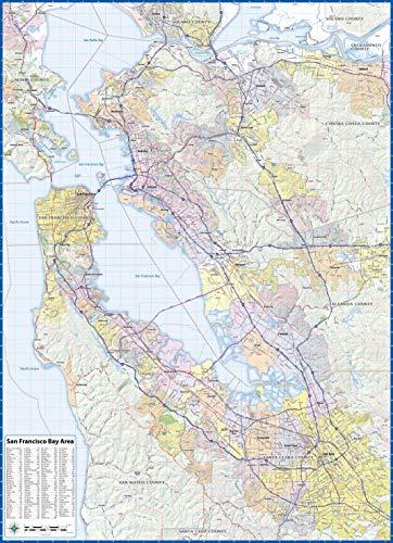 San Franciso Bay Area Laminated Wall Map ()