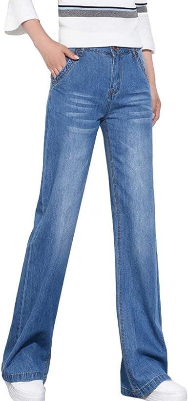 Casual Elegante Recto De La Mujer Pantalones Kick Flare Vaqueros Sin Estirar Casuales Mujeres Los Pantalones Vaqueros Acampanados De Pierna Ancha Pantalones Amazon Es Ropa Y Accesorios