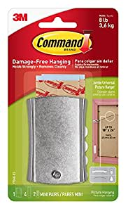 Command Jumbo Universal Picture Hanger w/ Frame Stabilizer Strips, 1-Hanger, Hangs 8-Pounds (17048-ES)