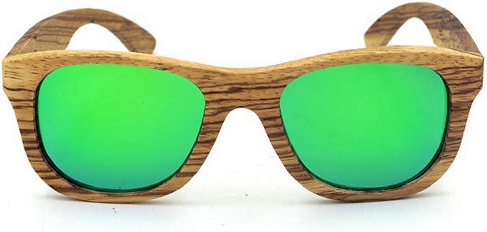 ERSD Retro Cebra Madera Artesanía Bordeado Gafas de Sol Lente de Color Protección UV400 para Unisex-Adulto Diseño de Moda clásico de Gama Alta (Color : Verde)