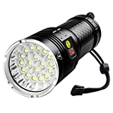 10000 Lumen Flashlight, 18 LEDs Super Bright, Power Display, Built-in battery, USB Rechargeable, 4 Light Modes-High/Mid/Low/Strobe, Perfect for Outdoor Activities