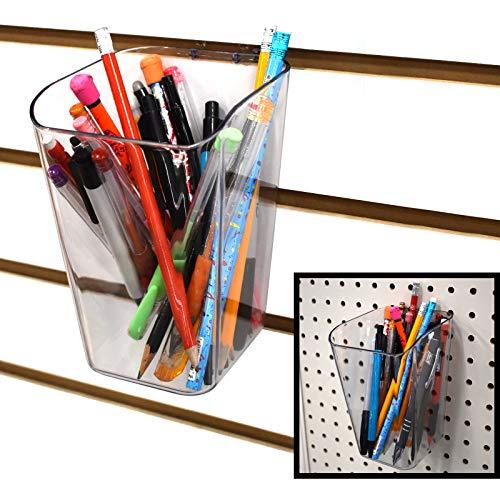 - Pen Cup for Pegboard & Slatwall - Acrylic Bucket Bin - 10 Pack