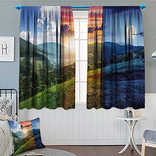 Apartment Decor Window Curtain Fabric Foggy Mountain Forest View in Various Times of The Day Idyllic Nature Collage Drapes for Living Room 72