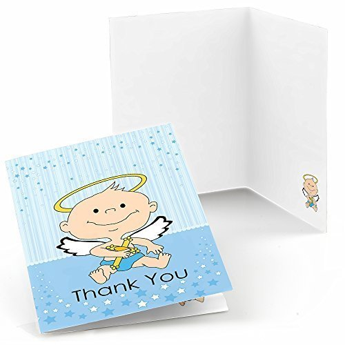 Angel Baby Boy - Baby Shower or Baptism Thank You Cards (8 count) (Angel Baby Shower Theme)