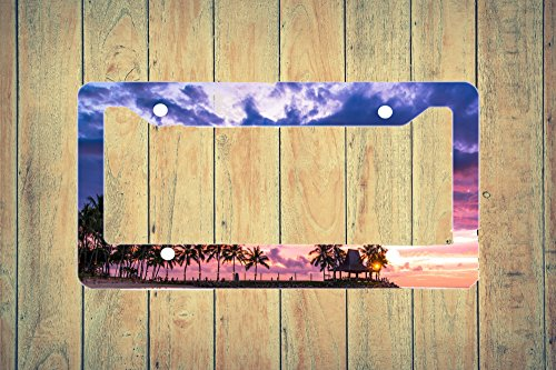 Sunset Beach Scene with Tiki Hut Flat License Plate - Sunset Hut