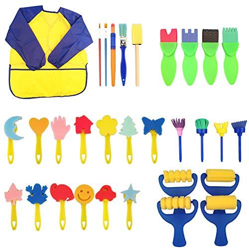 (nbhbj Kids Early Learning Sponge Painting Brushes Kit,30 pcs of Fun Paint Brushes for Toddlers,Long Sleeve Waterproof Apron 3 Roomy Pockets,Sponge Brush, Flower Pattern Brush,Brush Set)